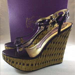 Hale Bob Shoes - NIB Hale Bob Colby Leather Bamboo Wedge Sandals 8M