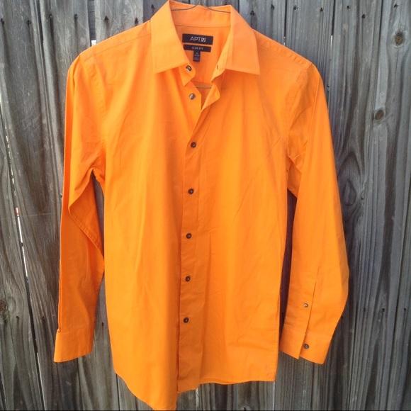 Apt 9 apt 9 men 39 s orange long sleeve button up slim for Apartment 9 dress shirts