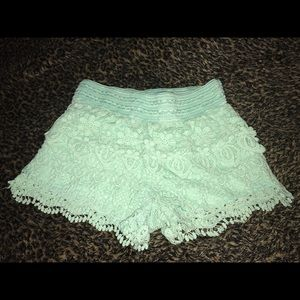 Pants - Lace Shorts in mint- size 3-5 Small. Never worn!