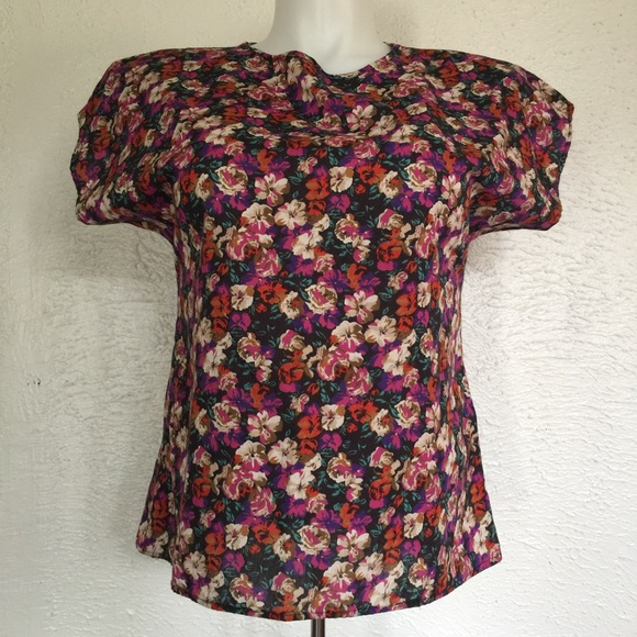 Vintage Tops - VTG 90's floral tee riot girl gothic poppies S