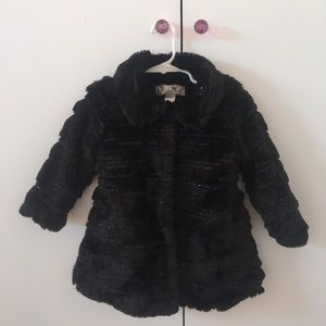 NWT Faux Fur Sequins Coat