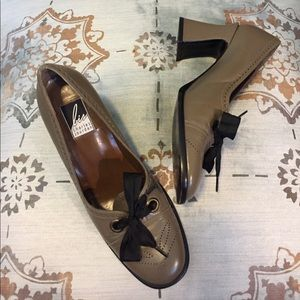 Charles Jourdan Shoes - Taupe wing tip pumps