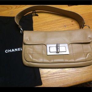 Authentic tan Chanel handbag w mademoiselle lock
