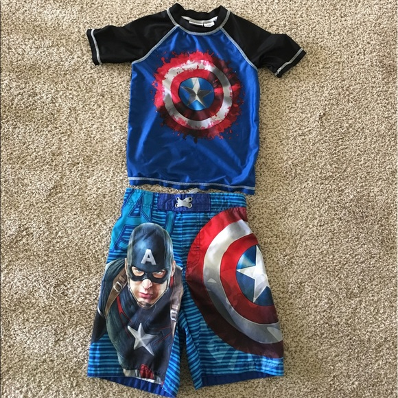 fd456ba485 Marvel Swim | Boys Captain America Trunks Rashguard Shirt | Poshmark