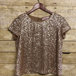Rosebud Tops - Rose gold sequin top size small