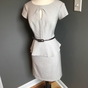 Textured oatmeal colored peplum dress Sz 6