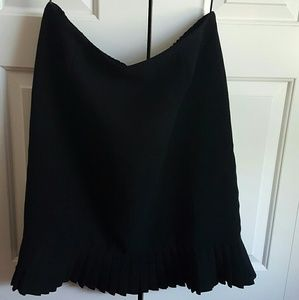 Black bottom pleat pencil skirt