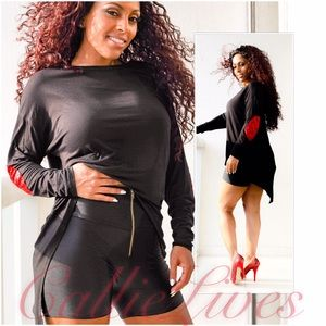 Callie Lives Tops - Black Tails Top w Red Sparkly Sequin Elbow Patches