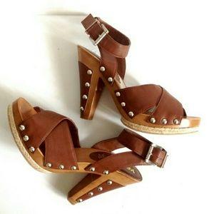 Kensie Nail head retro strapped heels