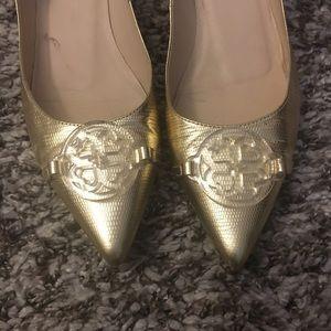 LK Bennett Shoes - LK Bennett gold low wedges size 39