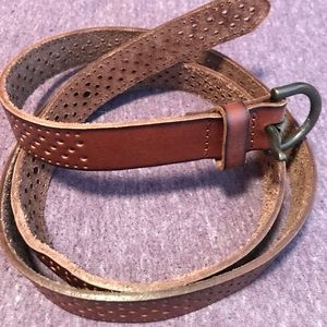 Perforated Brown Leather Belt