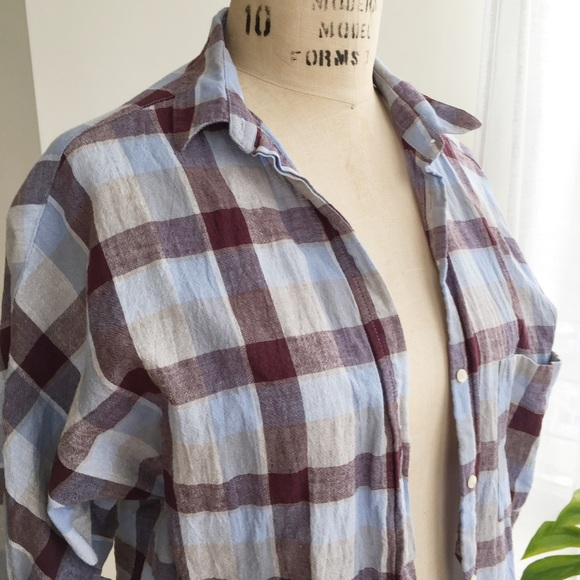 Zara Tops - ZARA LINEN BUTTON UP TOP SIZE MEDIUM