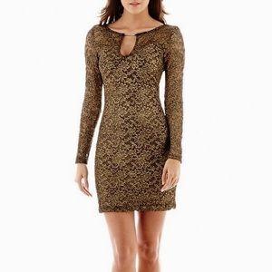 Bisou Bisou Dresses & Skirts - NWOT Bisou Bisou Black and Gold Lace Dress