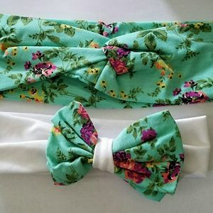 Other - 3 for $10 sale! floral green mommy me headband