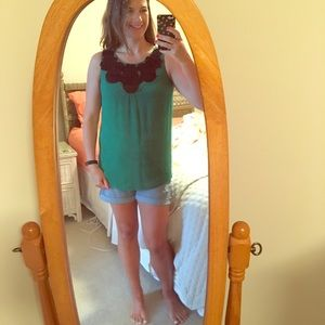 Sunny Leigh Tops - Green Sleeveless Top with Black Flowers