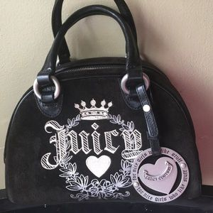 Juicy Couture Black Velvet Purse Bowler Handbag