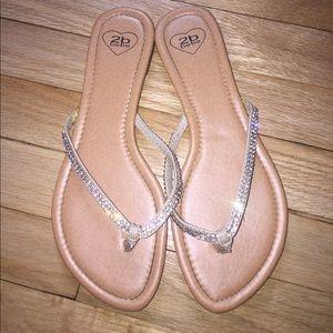 2b Bebe Rhinestone Flip Flops