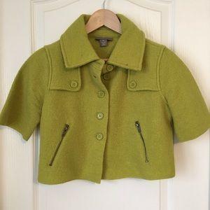 Kenar Jackets & Blazers - Green Wool Cropped Jacket