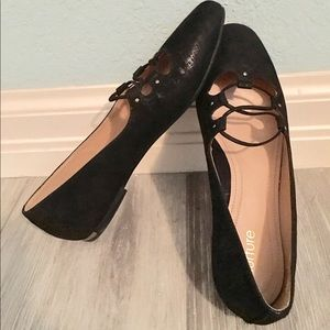 Nurture Shoes - Nuture Maeleigh 7.5 M Black Leather Flats Shoes