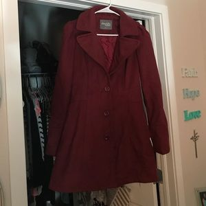 Oxblood Peacoat Single Button