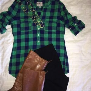 Old Navy plaid henley