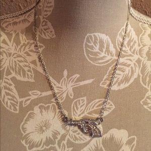 "Silver Plated Rhinestone Gun Necklace 9"" chain"