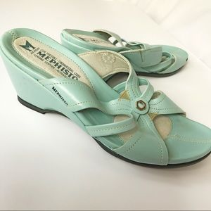 Mephisto Shoes - Robin's egg blue leather sandals (Mephisto 37)