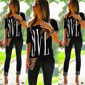 Tops - BLACK OFF SHOULDER TOP T-shirt LOVE white tee