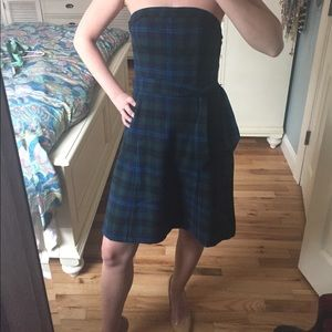 American Eagle Plaid Strapless Dress