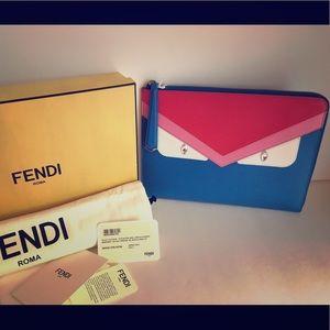 Fendi Handbags - Fendi Medium Blue Monster Clutch