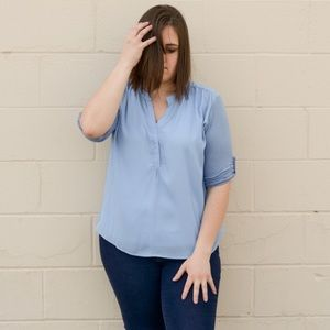 Kyoot Klothing Tops - Plus Size Baby Blue Blouse