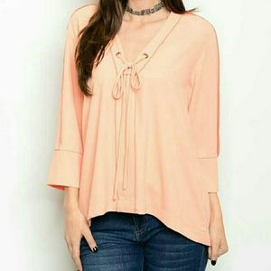 Threadzwear Tops - Blush Lace-Up Top