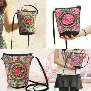 Handbags - Ladies Floral Embroidered Shoulder Boho Bucket Bag