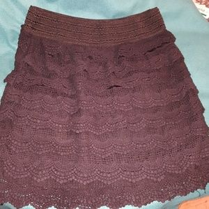 Black layered crochet skirt