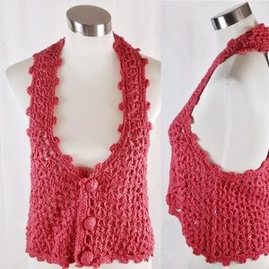 Passion of Essense Tops - Crocheted Sleeveless Crop Top with a mock neck