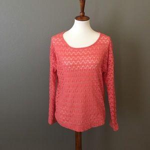 Katie K Tops - Long Sleeve Crochet Overlay