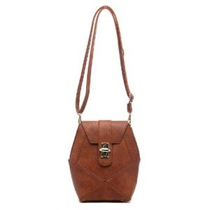 Pink Haley Handbags - Pink Haley Frida front lock patch in brown New 👜