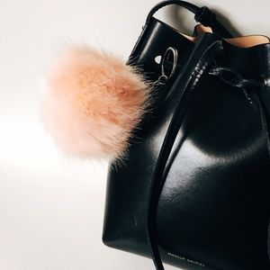 Accessories - Peach Faux Fur Pom Keychain