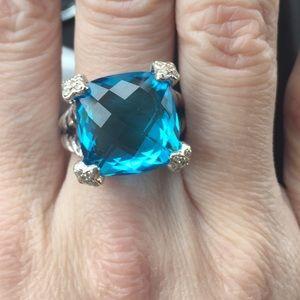 David Yurman Jewelry - David Yurman Cushion on Point Blue Topaz Ring- Sz6