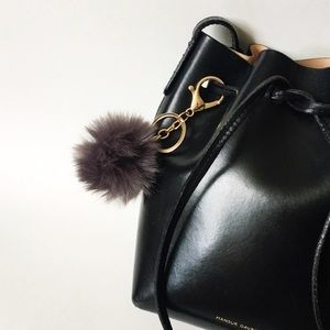 Accessories - Grey Faux Fur Pom Keychain
