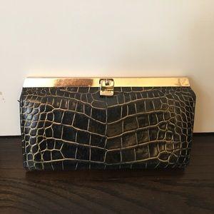 Abas Handbags - Faux croc skin accordion wallet/ small clutch.