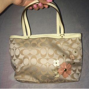 COAH floral appliqué top handle tote