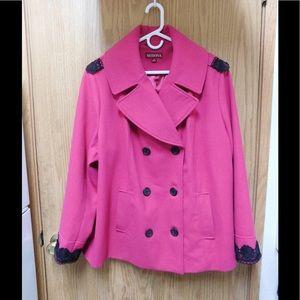 Merona Jackets & Blazers - Spectacular Fuchsia Coat W/Black Lace Details