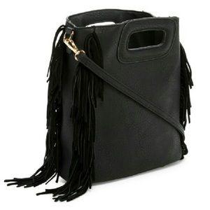 Pink Haley Handbags - New Honors Black Fringe Suede Crossbody Bag
