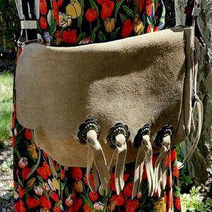 Western Boho Festival Fringed Leather Shoulder Bag