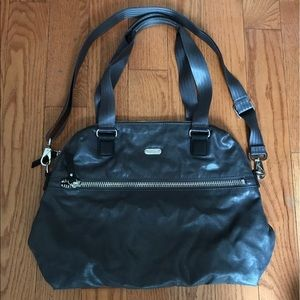 Dark grey metallic large shoulder bag