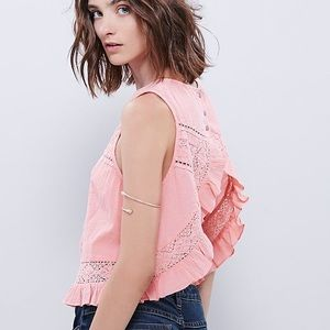 Free People Tops - Free People Sleeveless Laced Piece Washed Tank