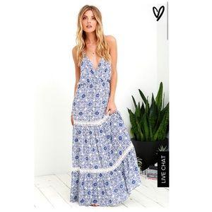 Lulus White and Blue Print Maxi Dress sz Medium