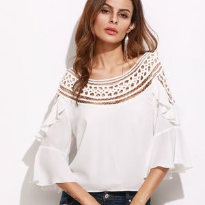 Tops - NWOT White Hollow Out Neckline Ruffle Top