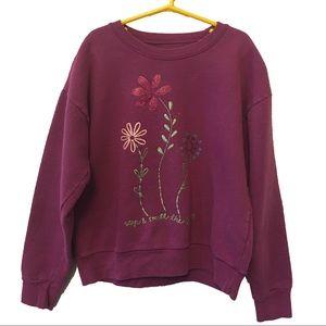 Hanes Other - Hanes flower 🌺 glitter screen print sweatshirt